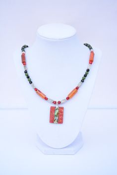 Turquoise, Coral, Jade, Jasper, Onyx and Silver Necklace with Coral and Mother of Pearl Pendant.Gem Stone Necklace.Gem Stone Jewelry by flashinfashinjewelry. Explore more products on http://flashinfashinjewelry.etsy.com