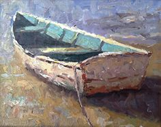 Beached Dinghy by artist James Moore. #painting found on the FASO Daily Art Show - http://dailyartshow.faso.com