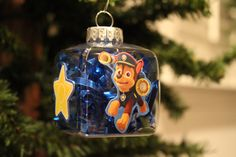 "Paw Patrol ""Chase"" Christmas Ornament- 4-Sided, Cube Shaped"