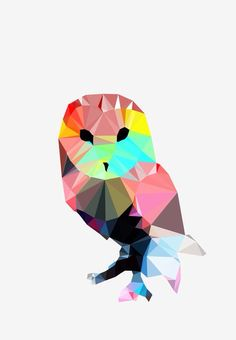 Digital Download PDF Counted Cross Stitch Pattern of a Geometric Print of an Owl. Beautiful and bright, unique and Modern