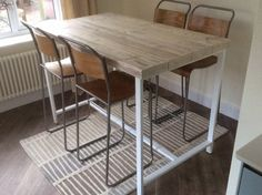 Reclaimed Industrial 4 Seater Chic Tall Desk Dining Poseur Table White - Bar Cafe Restaurant Steel Solid Wood Metal Hand Made Bespoke 421 Industrial Cafe, Industrial Furniture, Steel Metal, Wood And Metal, Solid Wood, Tall Desk, White Bar, Metal Desks, Reclaimed Timber