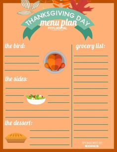 Ditch the Kitchen: Prep Your Thanksgiving Menu with this printable menu plan and shopping list! Sponsored by Kohl's