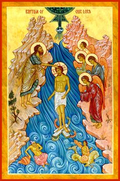Epiphany by Michael Kapeluck Religious Icons, Religious Art, Baptism Of Christ, Jesus Photo, Roman Church, Christian Religions, Byzantine Icons, Angels Among Us, Paintings