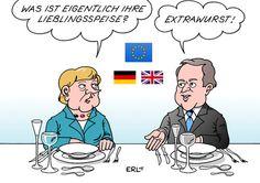 Cartoon: Cameron Merkel (medium) by Erl tagged david,cameron,premierminister,uk,vereinigtes,königreich,großbritannien,besuch,deutschland,berlin,bundeskanzlerin,angela,merkel,eu,europa,skepsis,referendum,reformen,zgeständnisse,extrawurst,lieblingsspeise,essen,david,cameron,premierminister,uk,vereinigtes,königreich,großbritannien,besuch,deutschland,berlin,bundeskanzlerin,angela,merkel,eu,europa,skepsis,referendum,reformen,zgeständnisse,extrawurst,lieblingsspeise,essen
