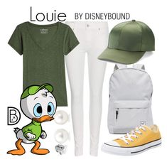 """Louie"" by leslieakay ❤ liked on Polyvore featuring Herschel Supply Co., Polo Ralph Lauren, Velvet, Mudd, Converse, disney, disneybound and disneycharacter"