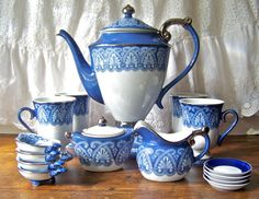 Vintage Tea Service Porcelain and Platinum Tea by cynthiasattic