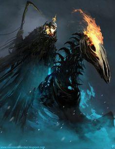 Ghost Rider by Ramses Melendez on ArtStation. Dark Fantasy Art, Fantasy Images, Dark Art, Dark Creatures, Fantasy Creatures, Ghost Rider, Ramses, Cool Monsters, Dnd Monsters
