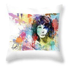 Jim Morrison Throw Pillow Doors Throw Pillow by PatLintnerFineArt