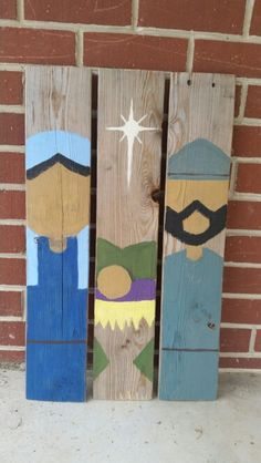 Primative nativity scene painted on pallet wood. I have received several orders for these after making this one. Christmas Wooden Signs, Pallet Christmas, Outdoor Christmas Decorations, Christmas Love, Christmas Projects, Outdoor Nativity Scene, Christmas Nativity Scene, Nativity Painting, Christmas Paintings