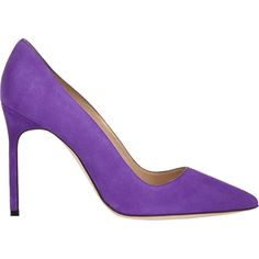 Manolo Blahnik Suede BB Pumps (835 CAD) ❤ liked on Polyvore featuring shoes, pumps, heels, purple, suede pointy toe pumps, leather sole shoes, purple shoes, pointed toe pumps and pointed toe shoes