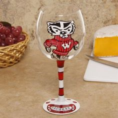 Wisconsin Badgers Hand-Painted 16oz. Wine Glass