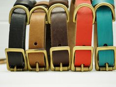 Leather Dog Collar For Big Dogs and medium dogs. A handmade collar with solid brass buckle and solid brass id tad. Leather color :Black leather , Light brown leather, dark brown leather, red leather, light blue leather - teal leather.