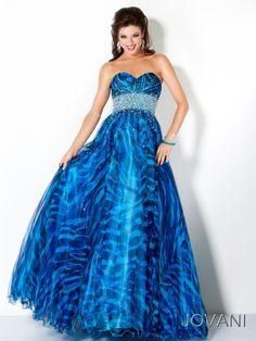 #Jovani 4253 blue strapless aline ball gown prom dress. #prom #promdress #InternationalProm #Prom360