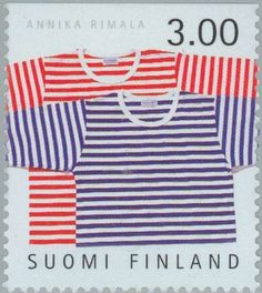 "Tricot Fabric, ""Tasaraita"" knitwear, designed by Annika Rimala for Marimekko , (Finnish Design) . Marimekko Fabric, Tricot Fabric, Going Postal, Stamp Collecting, Postage Stamps, Finland, Printing On Fabric, Knitwear, History"