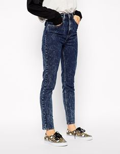ASOS Farleigh High Waist Slim Mom Jeans in Indigo Snow Acid Wash