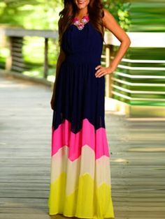 Navy and Multicolor Stripes Elastic Waist Sleeveless Maxi Dress