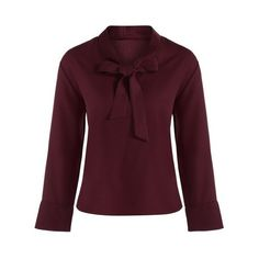 Bow Collar Chiffon Blouse ($15) ❤ liked on Polyvore featuring tops, blouses, purple chiffon blouse, chiffon blouse, pussy bow blouses, chiffon tops and purple blouse