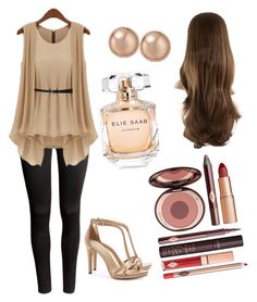 """Beige&Black outfit"" by szabo-dominika on Polyvore featuring H&M, Tory Burch, Charlotte Tilbury, Bloomingdale's and Elie Saab"