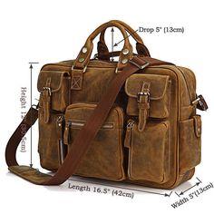 """Men Genuine Leather 16"""" Laptop Briefcase Travel Carry On Handbag Duffle Gym Bag #Leaokuu #DocumentBag"""