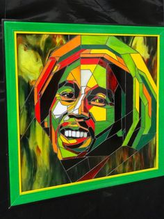 Stained glass picture of Bob Marley by GalicianStainedGlass