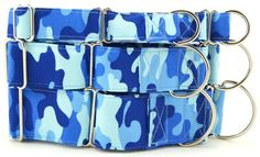 Blue Camo Martingale Collar is available in 5 sizes and 3 widths. Made in USA with care from soft, quality fabric with stress points reinforced Bling Dog Collars, Unique Dog Collars, Dog Collars & Leashes, Martingale Dog Collar, I Like Dogs, Military Dogs, Blue Camo, Sleeping Dogs, Collar And Leash