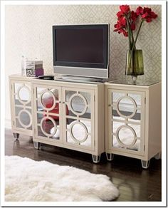 Attractive Furniture Picture: Circled Horchow Mirrored Furniture With Mini Screen And  White Fur On The Floor, Designed By Horchow, Living Room, Rectangular ~  Seapavaa
