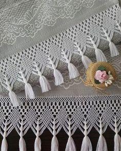 Crochet Bedspread Pattern, Crochet Lace Edging, Crochet Curtains, Crochet Borders, Basic Crochet Stitches, Crochet Chart, Crochet Trim, Love Crochet, Craft Stick Crafts