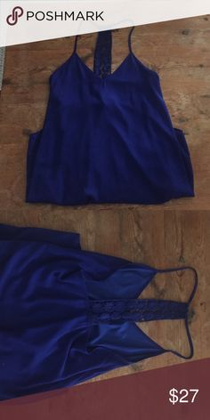 Royal blue dress Pretty chiffon royal blue dress with crochet in the back (above knee). Worn once! CY Dresses Mini