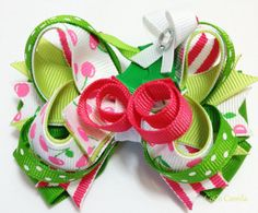 Cherries Hair Bow boutique girl pink ribbon by cococamila on Etsy, $8.50