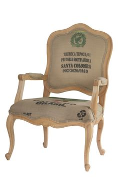 French Style arm chair covered in a rustic recycled sack
