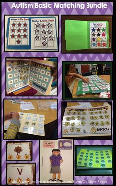 Autism Matching Tasks Bundle. 42 File Folders plus task cards for matching colors and matching and sequencing letters and numbers. $