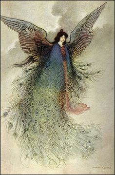 The Moon Maiden - illustration by Warwick Goble to Green Willow and Other Japanese Fairy Tales: I love anything with peacock feathers Art And Illustration, Illustrations, Georg Christoph Lichtenberg, Warwick Goble, Art Magique, Indian Theme, Fairytale Art, Poster Prints, Art Prints