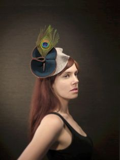 Teal Felt Fascinator With Copper Chain Leather and by pookaqueen, $132.00