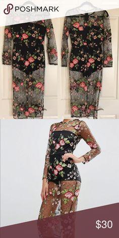 Lace floral mesh dress Lace floral mesh body on dress with under bodysuit ASOS Dresses Midi