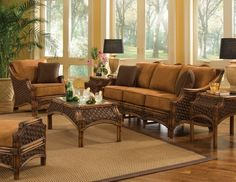 Schmitz 5 Piece Conservatory Living Room Set throughout 5 Piece Living Room Furniture Sets - Inspiration for Your HOME! Rattan Furniture Set, Sunroom Furniture, Wicker Sofa, Living Room Furniture, Home Furniture, Outdoor Furniture Sets, Handmade Furniture, Furniture Ideas, Furniture Design