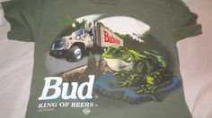 Budweiser King Of Beers T-Shirt Frogs Yee Haw This Buds For You Size M Green #Changes #GraphicTee