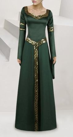 Green dress with gold belt