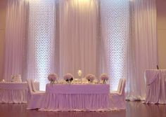 White on white backdrop. White sheer voile with silver rosette panels interspersed. Finished with backdrop lights.