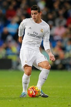 James Rodriguez of Real Madrid in action during the La Liga match between Real Madrid CF and RC Deportivo La Coruna at Estadio Santiago Bernabeu on...