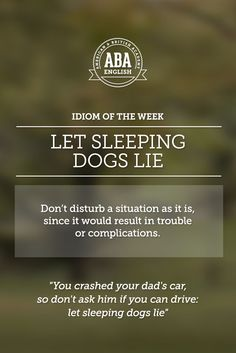 """English #idiom """"Let sleeping dogs lie"""" means you should not disturb a situation as it is - since it would result in trouble or complications."""