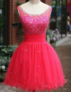 Charming Homecoming Dress,Tulle Homecoming Dress,Beading Graduation Dress,O-Neck Short Prom Dress