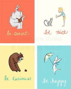Children's Wall Art Prints- BE collection (4 - 8x10s) - Kids Nursery Room Decor. $84.00, via Etsy. (Got these for the baby's room- gorgeous!!-- SJ)