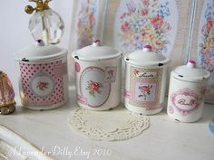 Shabby Rose Canisters for Dollhouse by alavenderdilly on Etsy, $15.00