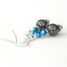 Handmade hematite earrings with Swarovski crystals £6.00
