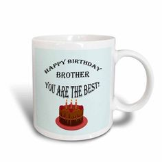 3dRose Happy birthday brother. Blue, saying, quote, Ceramic Mug, 11-ounce