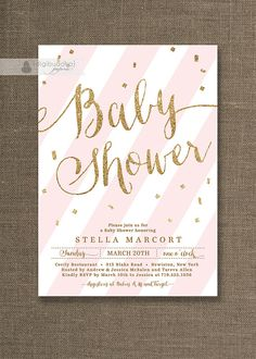 Blush Pink & Gold Glitter Baby Shower Invitation Confetti Pastel Stripes Baby Girl  Printable Digital or Printed- Stella Style