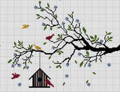 Tiny Cross Stitch, Easy Cross Stitch Patterns, Cross Stitch Tree, Simple Cross Stitch, Cross Stitch Alphabet, Cross Stitch Flowers, Cross Stitch Charts, Cross Stitch Designs, Cross Stitching