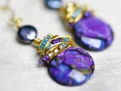 Purple Turquoise and Freshwater Pearl Gold Wire by KeelinBrett