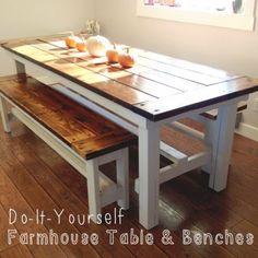 Do-It-Yourself Farmhouse Table & Benches!