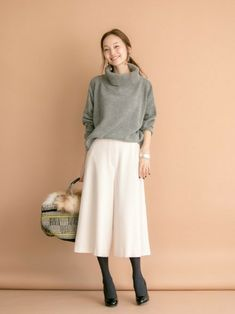 """Wear it on and off in the fall and winter. """"A classic sta . Japan Fashion, Work Fashion, Hijab Fashion, Daily Fashion, Everyday Fashion, Korean Fashion, Fashion Outfits, Womens Fashion, Hijab Stile"""